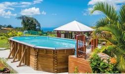 Grande piscine octogonale en bois