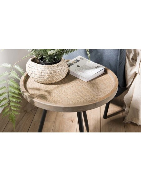 Table d'appoint ronde rotin