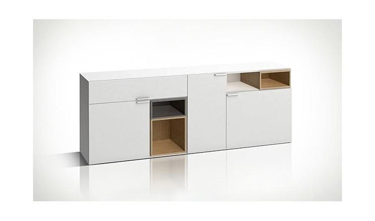 grande commode blanche design en bois basse et longue 4you. Black Bedroom Furniture Sets. Home Design Ideas