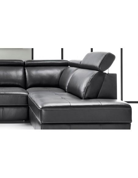 Canapé d'angle en cuir avec appuis-têtes réglables