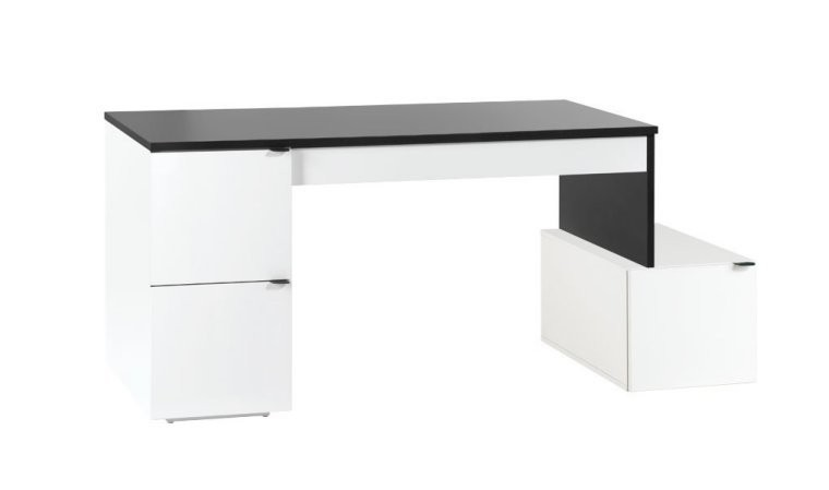 bureau modulable 140 cm avec caisson yu mobilier design pas cher. Black Bedroom Furniture Sets. Home Design Ideas