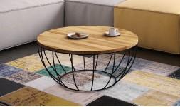 table basse de salon ronde chêne