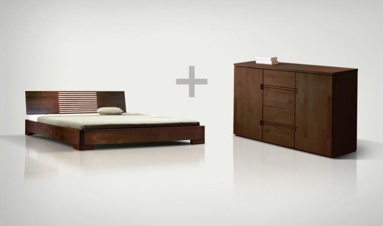 Ensemble lit et commode en bois massif