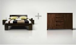 lit et commode bois massif