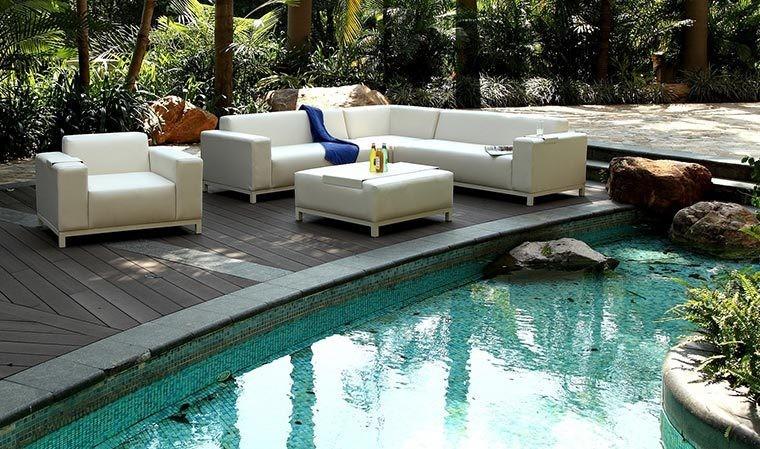 Salon de jardin blanc crème luxe en cuir PU 8 places - Dubaï