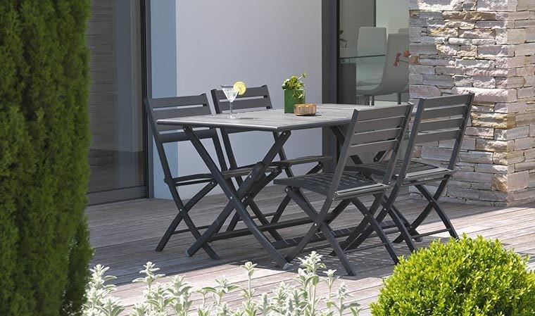 Ensemble jardin pliant 4 places en aluminium - Marius