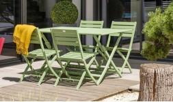 Salon de jardin pliant vert