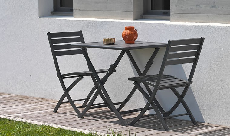 salon de jardin pliant 2 places en aluminium personnalisable marius. Black Bedroom Furniture Sets. Home Design Ideas