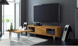 Meuble télé en chêne et acier