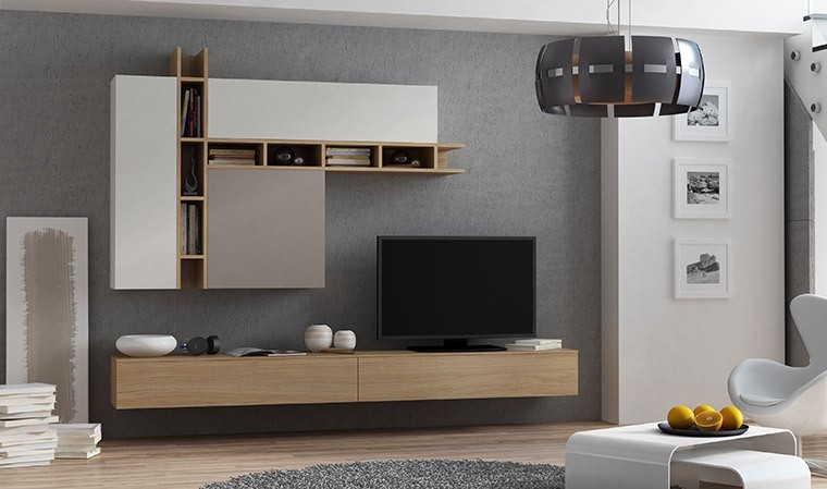 ensemble mural meuble tv avec rangements ch ne taupe et gris. Black Bedroom Furniture Sets. Home Design Ideas
