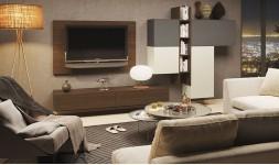 Meubles salon tv design muraux sable et chêne