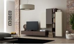 Ensemble suspendu meuble tv avec rangements muraux