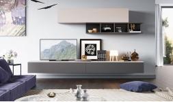 Meuble tv et rangements design gris et crème