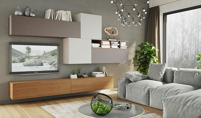 mobilier suspendu de salon meuble t l design taupe gris et ch ne. Black Bedroom Furniture Sets. Home Design Ideas