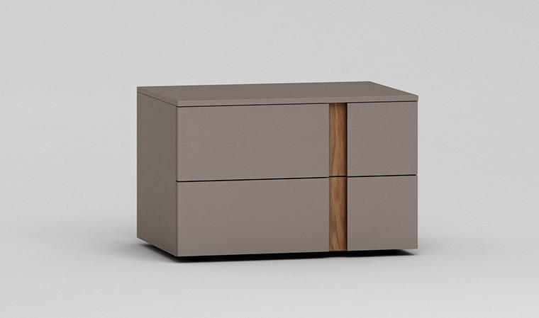 Chevet design couleur taupe et chne naturel 2 tiroirs soft close - Table de chevet couleur taupe ...