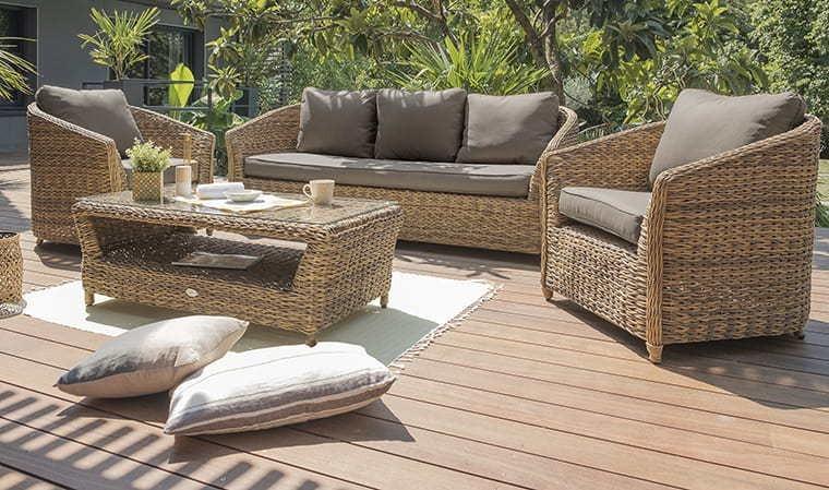 Salon de jardin en résine tressée marron 5 places - Havana