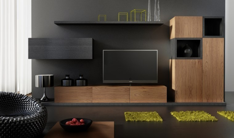 Ensemble meuble tv design buffet notte mobilier design pour salon moderne en bois - Meuble tv contemporain italien ...