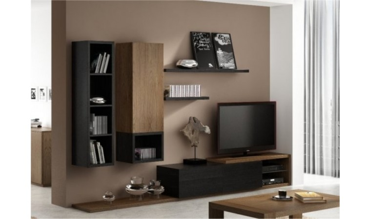 ensemble meuble tv mural notte mobilier design pour. Black Bedroom Furniture Sets. Home Design Ideas
