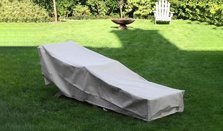 Housse de protection imperméable beige pour transat et mobilier de jardin
