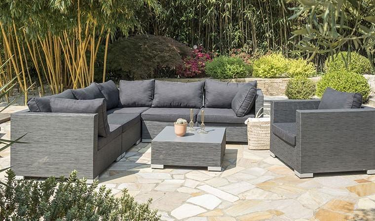 salon de jardin moderne gris fonc 6 places en tissu athena. Black Bedroom Furniture Sets. Home Design Ideas