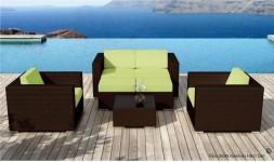 meubles exterieur en resine tressée marron