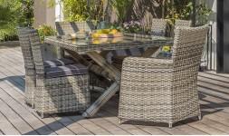 Salon table jardin résine tressée