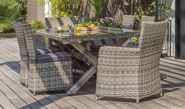 Salon table jardin en résine tressée 6 personnes - Bali