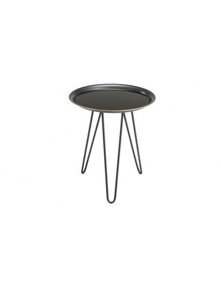 Table d'appoint ronde métal et verre