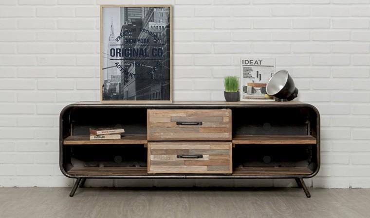 meuble tv vintage en teck recycl et m tal style ann es 60 fusion. Black Bedroom Furniture Sets. Home Design Ideas
