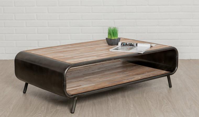 Table basse vintage en teck recyclé et métal - Fusion