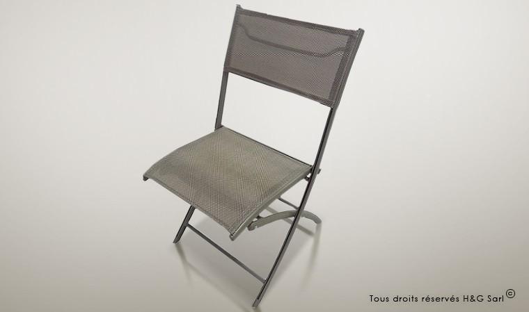 chaise jardin pliante grise