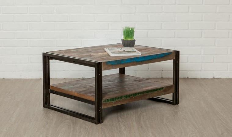 Table basse indus en m tal et teck recycl 80 x 60 cm york for Table basse teck et metal