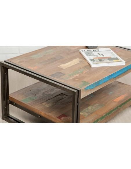 Table basse indus teck et métal