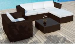 mobilier exterieur resine tressée chocolat