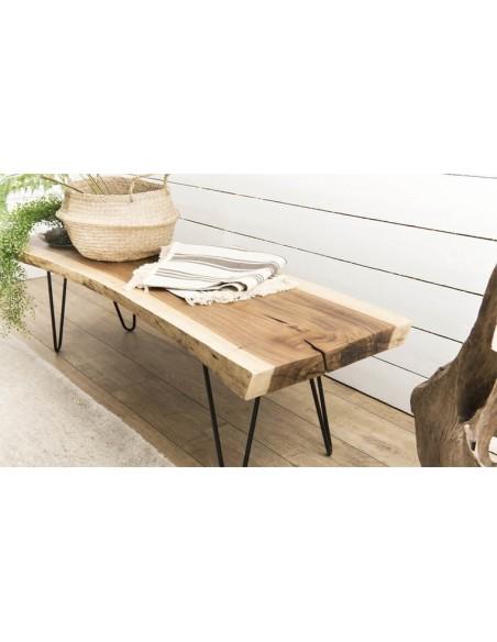 Banc de salon en bois exotique