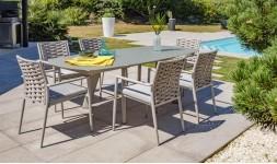Ensemble extensible table et 6 fauteuils