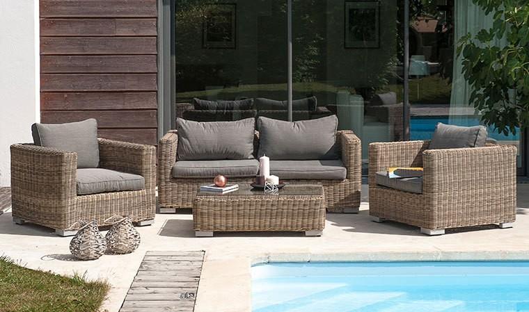 Salon de jardin bas design en r sine tress e 4 places - Salon de jardin haussmann paris garden design ...