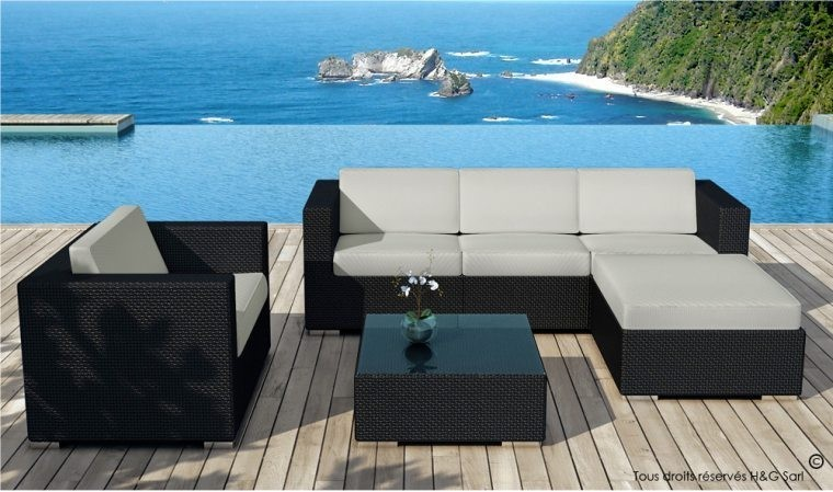 salon de jardin en rsine tresse noire miami coussins gris ou vert. Black Bedroom Furniture Sets. Home Design Ideas