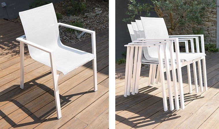 fauteuil de jardin blanc empilable en alu et textil ne mykonos. Black Bedroom Furniture Sets. Home Design Ideas