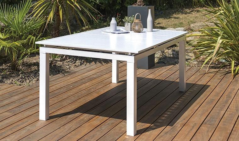 Table De Jardin Extensible Blanche En Aluminium 180 240cm Mykonos