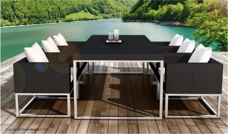 table et 6 fauteuils encastrable de qualit en r sine tress e noire. Black Bedroom Furniture Sets. Home Design Ideas