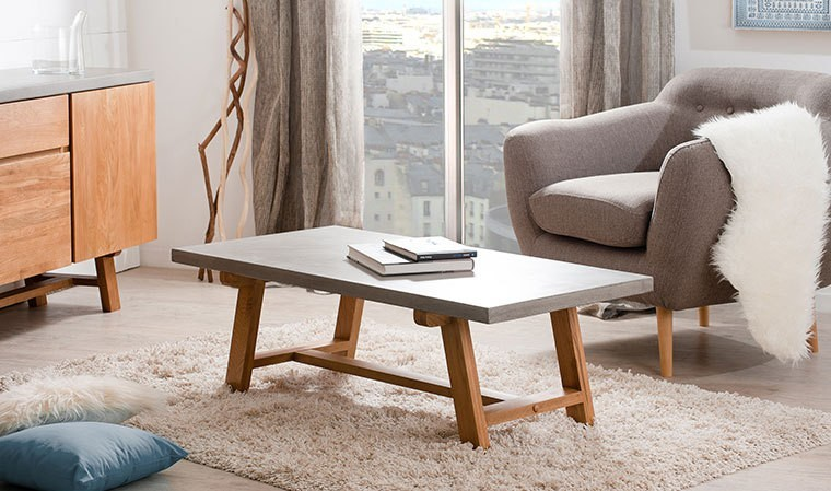 Table basse rectangulaire béton ciré