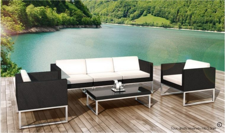 salon bas jardin design en resine tressee noire 5 places nova. Black Bedroom Furniture Sets. Home Design Ideas