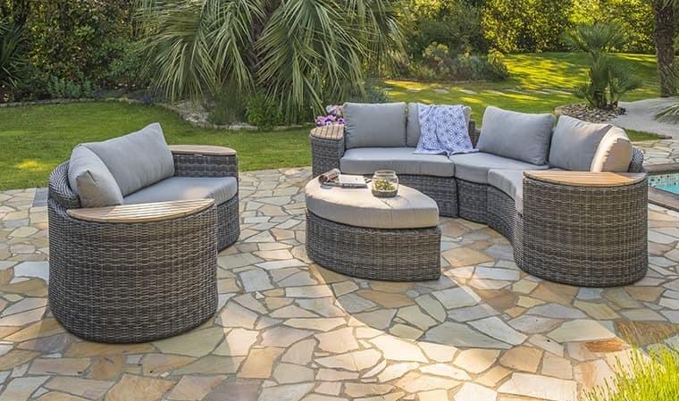 Salon de jardin rond modulable en résine tressée grise - Nouméa