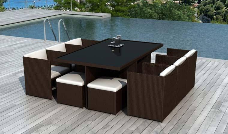 Salon de jardin fauteuils encastrables resine tressee marron 10 places