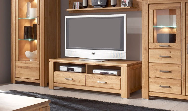 meuble tv en chne massif noueux 2 tiroirs et 2 niches. Black Bedroom Furniture Sets. Home Design Ideas