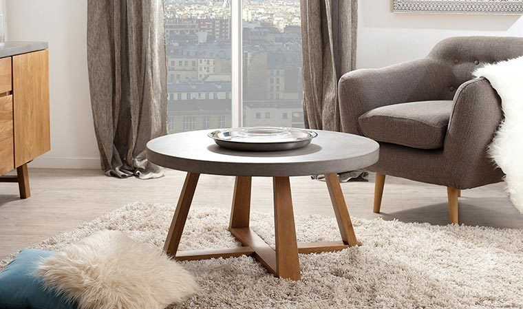 table basse ronde en b ton cir et ch ne massif 91 cm pietro. Black Bedroom Furniture Sets. Home Design Ideas