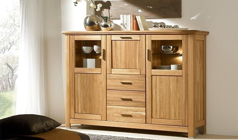 Buffet vitr en chne massif design contemporain porto - Buffet bois massif contemporain ...