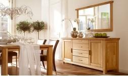 Long buffet en bois massif 4 tiroirs et 2 portes