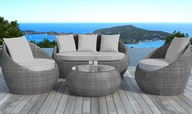 Salon jardin en resine ronde grise